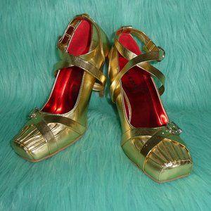 Bumper Gold Ballerina Toe High Heel